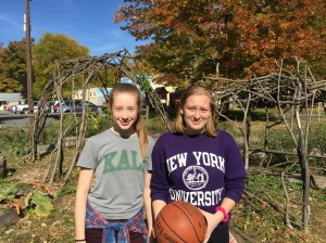 Basketball free throw contest winners Lilly Cook and Crystal Washburn